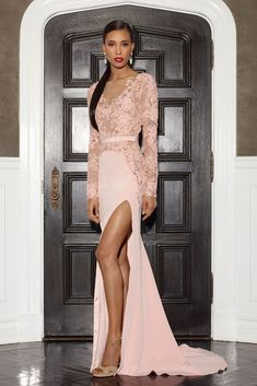 Blush long sleeve embroidered bodice gown w/side slit and self belt - LORENA SARBU - FALL 2014