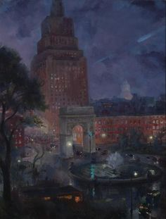 Wet Night, Washington Square, 1928 - John French Sloan