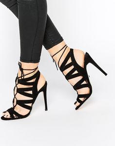 f0be06bb9ae Image 1 of Faith Leona Black Ghillie Heeled Sandals Lace Up Sandals