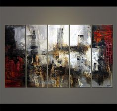 Abstract Painting Red Black White Gray Painting por OsnatFineArt, $1309.00