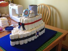 "Diaper cake for ""Ahoy It's A Boy"" themed baby shower"