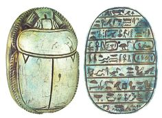 "Ancient artifacts, Egyptian scarab. Carved light green limestone heart scarab, once placed on the throat, chest, or heart of the Mummy. Some were worn by the deceased on a necklace, or mounted in gold settings as a pectoral. Heart scarabs provided the bearer with the assurance that at the final judgment as depicted in the Book of the Dead, the bearer would be found ""True of Voice"" and accepted into the eternal afterlife by the God Osiris. 18th Dynasty. 1570 - 1342 BC"