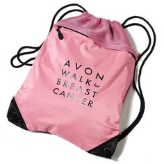 Avon Walk logo on this pink drawstring bag shows your support of the cause. For every Avon Walk item purchased at the Avon Walk Store online, 100% of the net proceeds are donated directly to Avon Breast Cancer Crusade (this ranges from approximately 50% to 75% of purchase price, depending upon the item) to support programs that help people get the breast cancer care they need and to support life saving research. Buy online at http://mbertsch.avonrepresentative.com #BreastCancer…