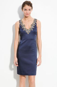 I can totally see myself in this dress on a night out in Barcelona next spring. Trina Turk 'Dakota' Jeweled Satin Sheath Dress.