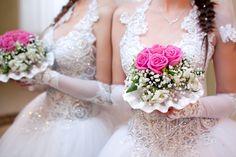 White Hydrangea Tall Centerpieces on WeddingWire