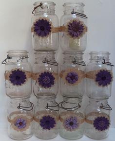 10 Burlap Mason Jar Plum Purple Country Rustic Wedding Party Shower Wraps A3 #BurlapBrides