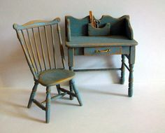 Miniature Desk and Chair (1 inch dollhouse scale)