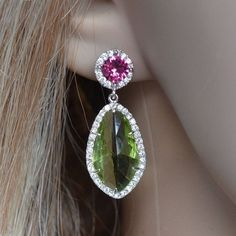 For the KIKI Candy Pink Tourmaline and Green Amethyst Drop Earrings Kate Middleton Earrings, Diamond Earrings, Drop Earrings, Pear Drops, Princess Kate, Crown Jewels, Pink Candy, Pink Tourmaline, Amethyst