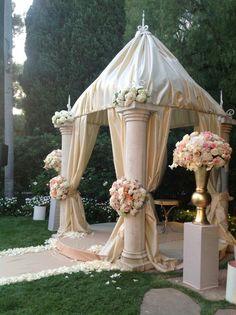 wedding gazebo combining ivory, peach and bronze. destinationweddingsbypj