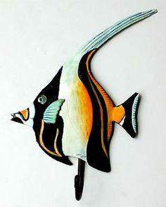 Moorish Idol Tropical Fish Wall Hook. Hand Painted Metal Bathroom Decor - Tropical Decorating, Tropical Home Decor, Metal Wall Art, Haitian Steel Drum Art, Outdoor Garden Decor - See more handcrafted metal tropical designs at www.TropicAccents.com