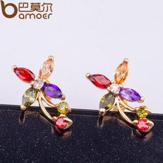BAMOER Gold Color Flower Stud Earrings with Colorful Zircon Crystal