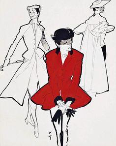 The Hunting Jacket, illustration by Renè Gruau, ca.1950