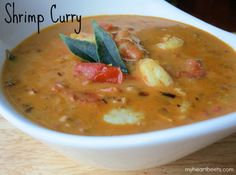 This Shrimp Curry is rich, creamy, spicy and sweet. Deliciously spiced and so easy to make! myheartbeets.com