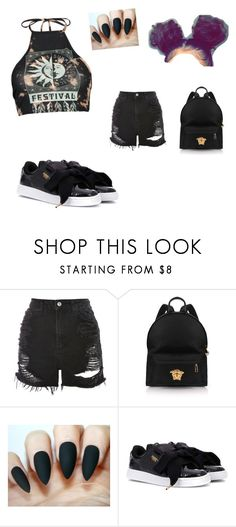 """Untitled #380"" by babyrhyiah ❤ liked on Polyvore featuring Topshop, Versace, Puma and Boohoo"