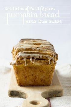 + pull apart cinnamon sugar pumpkin bread with rum glaze ~