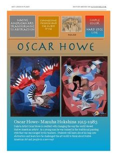 Oscar Howe Dakota Artist- Mazuha Hokshina Dakota Artist Oscar Howe is credited with changing the way the world viewed Native American artists! As a young man he was trained in the traditional painting style that was encouraged by his teachers. Native American Artists, World View, High Art, Traditional Paintings, Oscar, Art Lesson Plans, Young Man, Picasso, Art Lessons