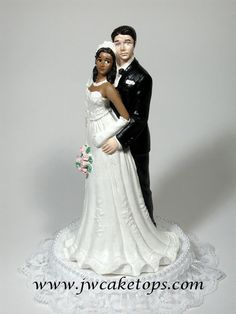 African American Bride with Caucasian Groom Wedding Cake Topper Interacial 49CG | eBay