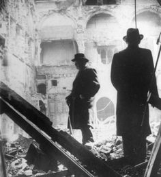"""Winston Churchill inspecting damage done by the Blitz. Like the Royal Family, Churchill remained in London during the Blitz and toured and inspected areas damaged by bombings, serving as an active symbol of strength,integrity and perseverance during this hard time. """"These cruel, wanton, indiscriminate bombings of London are, of course, a part of Hitler's invasion plans. He hopes, by killing large numbers of civilians, and women and children, that he will terrorise and cow the people of this…"""