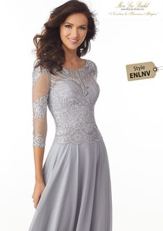 Shop Morilee's Chiffon Special Occasion Dress with Metallic Lace Appliqués on Net. Chiffon Special Occasion Dress Featuring an Elegant Bateau Neckline Bodice Accented in Metallic Lace Appliqués Mother Of The Bride Dresses Long, Mother Of Bride Outfits, Mothers Dresses, Lovely Dresses, Beautiful Gowns, Elegant Dresses, Bride Groom Dress, Bride Gowns, A Line Evening Dress