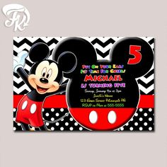 Black White Mickey Mouse Chevron Polkadot Birthday Party Card Digital Invitation