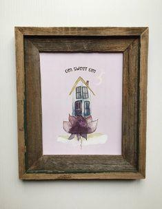 Items similar to Om Sweet Om Art Print/Om Wall Art/Yoga Art/Meditation Art Print/Watercolor Quote Art/Home Decor/Yoga Studio Decor on Etsy Om Art, Meditation Art, Yoga, Art Prints, Wall Art, Unique Jewelry, Handmade Gifts, Frame, Sweet