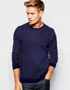 ASOS Lambswool Rich Crew Neck Jumper with Pin Dots