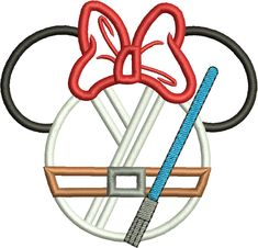 Character Inspired Minnie Jedi Mouse Head Applique, Star Wars inspired, Embroidery Design Machine Embroidery Design 261 by DitzyDotsBoutique on Etsy https://www.etsy.com/listing/509855751/character-inspired-minnie-jedi-mouse