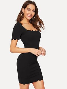 25c652a13c SHEIN Bodycon Dress Women Geo Cut Yoke Form Fitting Dress Black Long Sleeve  Cut Out Round Neck Elegant Party Dress in 2019 | Yillian | Long sleeve  fitted ...