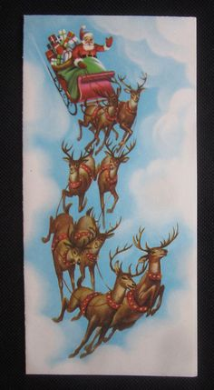 Vintage Christmas Greeting Card Santa and Reindeer in the Sky Mid Century Modern