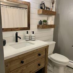 Distressed Bathroom Vanity, Shiplap Bathroom, Bathroom Renos, Gold Bathroom, Bathroom Remodel Small, Small Bathroom Redo, Wooden Bathroom Vanity, Bathroom Mirror Makeover, Cheap Bathroom Remodel