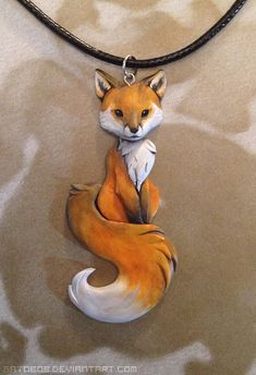 Red Fox Necklace by Gatobob on DeviantArt Art Fox, Fuchs Baby, Fox Tattoo, Cat Noir, Clay Creations, Clay Crafts, Clay Jewelry, Jewellery, Clay Art