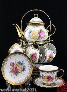 """13 Pieces"" European Style Simple Ceramic Rose Pattern Coffee Tea Set Teaset"
