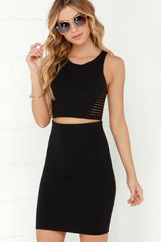 Black Two-Piece Dress - Bodycon Dress - Sleeveless Dress - $54.00 OKAY- this is literally it I need this dress in my life