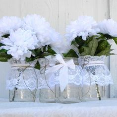 Items similar to 3 Rustic Lace Mason Jars, Wedding Table Decoration, Centerpiece, Flower Vase, Candle Holder, Candy Jars, Place Card Holders, Table Numbers on Etsy. , via Etsy.