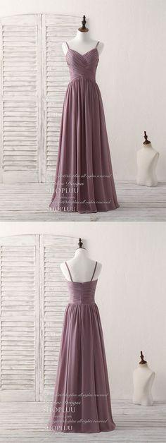 Simple v neck chiffon long prom dress dark pink bridesmaid dress