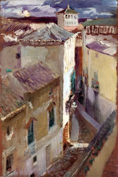 This is beautifully done. A Street in Toledo Joaquin Sorolla y Bastida - 1906 Spanish Painters, Spanish Artists, Valencia, Architecture Unique, Mary Cassatt, Claude Monet, Urban Landscape, Beautiful Paintings, Love Art