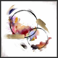 JBass Grand Gallery Collection 'Abstract Circles III' Framed Oil Painting Print on Canvas Circle Painting, Oil Painting Abstract, Painting Prints, Art Paintings, Abstract Canvas Art, Indian Paintings, Abstract Watercolor Tutorial, Painting Flowers, Watercolor Artists