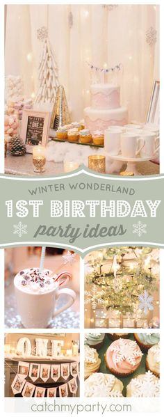 Don't miss this stunning Winter Wonderland 1st birthday party! The cupcakes topped with snowflakes are adorable!! See more party ideas and share yours at CatchMyParty.com  #winterwonderland