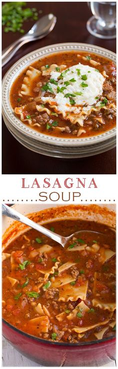 Lasagna Soup - Pinned over 200k. It's AMAZING to say the least! I like it even more than lasagna because it's not so heavy. A must try recipe!