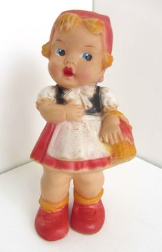 Vintage West Germany Rubber Squeeze Red Riding Hood Doll