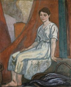 Sardinera sentada (c. 1913015) by Aurelio Arteta (1879-1940), Spanish - influenced both by Impressionist painting and by the work of Italian Renaissance masters - His painting, somewhat idealized, though melancholic, concentrated on Basque themes, showing both rural scenes and the way that society was changed by industrialization, with townscapes along the river Nervión (wiki - museobilbao) Bilbao, Art Station, Impressionist Paintings, Genere, Italian Renaissance, Art Drawings, Portrait, Contemporary Paintings, Learn To Draw