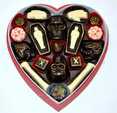 Fatally Yours Gourmet Chocolate Box! Would make a great Halloween wedding favor.
