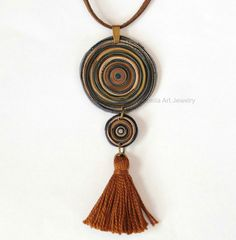 Bohemian tassel necklace polymer clay swirl by IsabellaArtJewelry