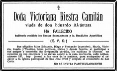 """Transcript: """"Dona Victoriana Riestra Camilan, widow of Don Eduardo Alcantara has passed away, having received the holy sacraments and last rites. Her sorrowful children, Eduardo, Diego and Fernando (absent), Maria, Victoria, Josefa and Paulino, daughters-in-law, grandchildren and other family members enjoins family and friends to attend the services at La Casa Mortuoriam, No. 137 Calle Aribau, tomorrow at eleven in the morning."""", 1926 #kasaysayan"""