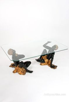 Midcentury, Retro and Vintage Coffee Tables, Italian Blackamoor Coffee Table Hand-Carved. A fabulous and rare pair of blackamoors supporting a later glass top. Conservatory Furniture, Hand Carved, Tables, Mid Century, Carving, Coffee, Retro, Antiques, Glass