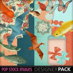Asian Ornamental Florals DIY Journal or Scrapbooking Kit - Floral Printable Papers - Koi - Cranes - Aqua Floral Printable Papers - DIY KIT