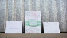 gray and pink floral invites