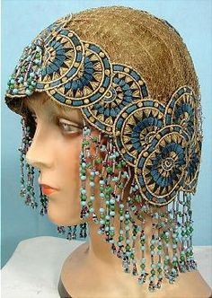 c. 1920's Flapper Headpiece with Embroidery and Bead Fringe.  Ravishing!