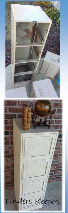 Filing cabinet makeover with chalk paint and wallpaper. Tutorial on the Finders Keepers facebook video page. #chalkpaint
