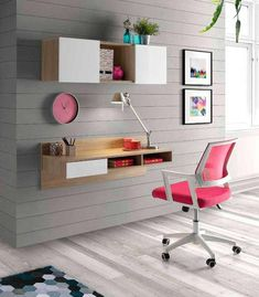 Decorate your room in a new style with murphy bed plans Floating Wall Desk, Study Table Designs, Creative Bookshelves, Geometric Shelves, Murphy Bed Plans, Home Garden Design, Decorate Your Room, Fashion Room, Table And Chairs